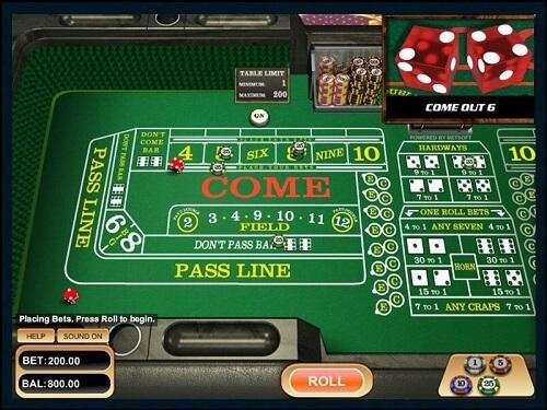 craps online bets