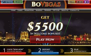 Bovegas Casino Homepage