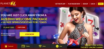 Planet 7 Oz Casino Homepage