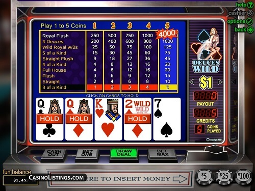 Deuces Wild Video Poker Pay Tables