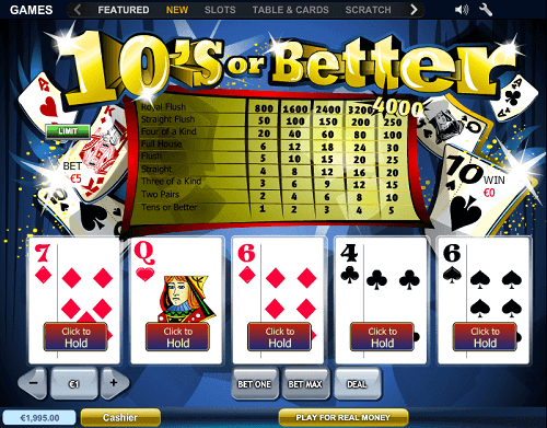 tens or better paytable